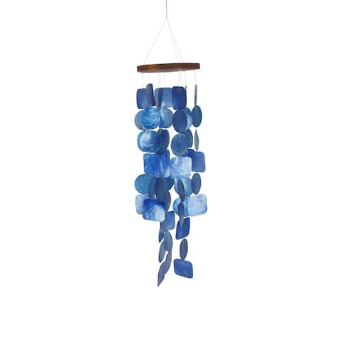 Aesthetically Designed Handmade Wind Chime with Capiz Shell Hangings, Blue