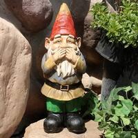 Sunnydaze Seth Speaks No Evil Gnome Garden Statue and Lawn Ornament - 12-Inch