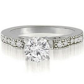 0.65 cttw. 14K White Gold Antique Milgrain Round Cut Diamond Engagement Ring