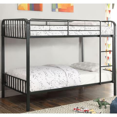 Furniture of America Loby Modern Black Metal Slatted Bunk Bed