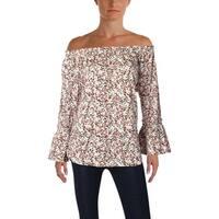 Lauren Ralph Lauren Womens Blouse Floral Print Tiered Sleeves