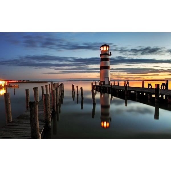 "LED Lighted Coastal Sunset Lighthouse Scene Canvas Wall Art 15.75"" x 23.5"""