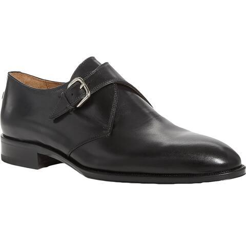 Pastori Mens Caligula Monk Shoes Leather Slip On - Nero Leather