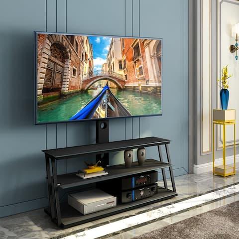 TiramisuBest Multi-Function Adjustable Tempered Glass TV Stand