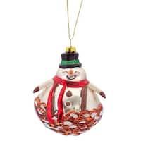 "4"" Shiny Glittered Pine Cone Snowman Glass Christmas Ornament"
