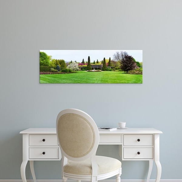 Easy Art Prints Panoramic Image 'Fountain, Peace Garden, Chicago Botanic Garden, Glencoe, Illinois' Canvas Art