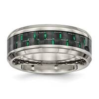 Titanium Polished Black/Green Carbon Fiber Inlay Ring (8 mm)