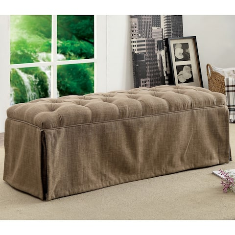 Furniture of America Vord Transitional Fabric Tufted Slipcover Bench