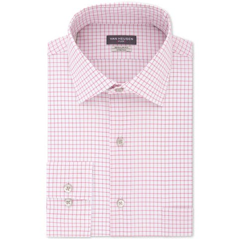 Van Heusen Men's Flex Classic/Regular-Fit Stretch Wrinkle-Free Check Dress Shirt, Pink, 2XLT