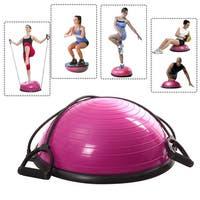 Costway Ball Balance Trainer Yoga Fitness Strength Exercise Workout W/pump (Rose)