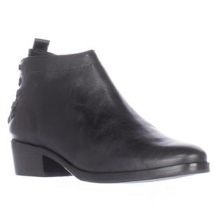 A7EIJE Saxon Elastic Woven Strap Heel Short Ankle Boots, Black