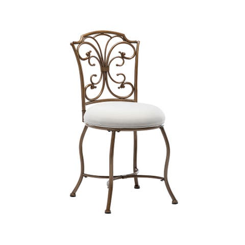 Porthos Home Sylvie Gold Iron Wrought Vanity Accent Chair, Linen
