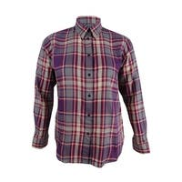 ee816608f Shop Polo Ralph Lauren Women s Plaid Twill Shirt (Aqua Grey