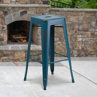 "Link to 30"" High Backless Distressed Metal Indoor-Outdoor Barstool - Patio Chair Similar Items in Dining Room & Bar Furniture"