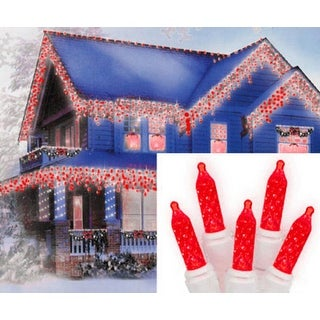 Set of 70 Red LED M5 Icicle Christmas Lights - White Wire