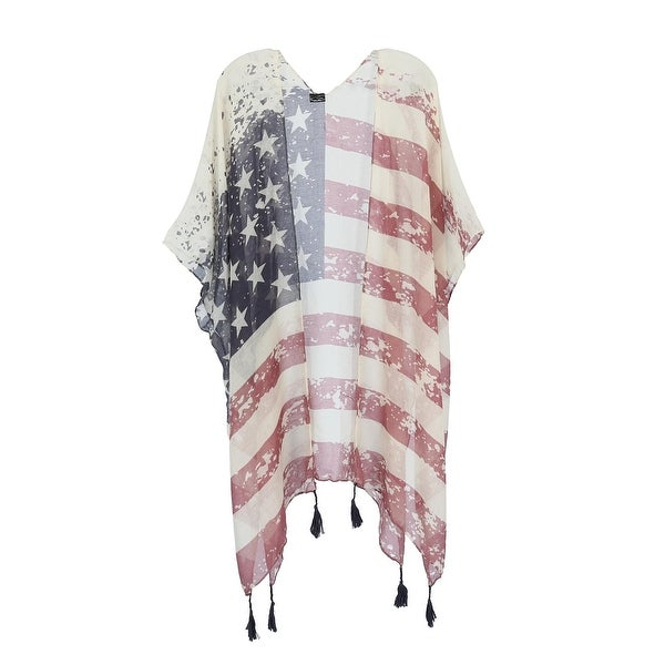 8a6e3e54d793b Shop CTM® Women's American Flag Print Kimono Wrap - one size - Free  Shipping On Orders Over $45 - Overstock - 28459061