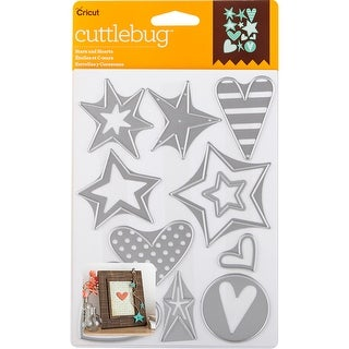 Cuttlebug Cut & Emboss Die-Stars & Hearts, 12/Pkg
