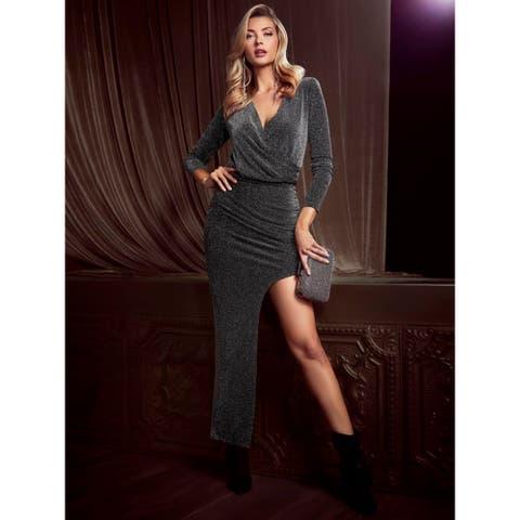 MARCIANO Womens Silver Long Sleeve Mini Sheath Formal Dress Size L