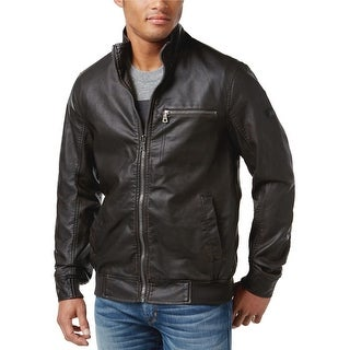 INC International Concepts Varsity Faux Leather Jacket Brown Solid Large L