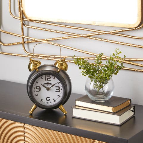 Black Stainless Steel Traditional Clock 9 x 6 x 3 - 6 x 3 x 9Round