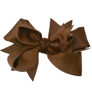 Girls Brown Solid Color Grosgrain Knotted Bow Alligator Hair Clippie
