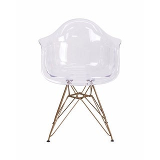 Offex Allure Series Transparent Side Chair with Gold Frame