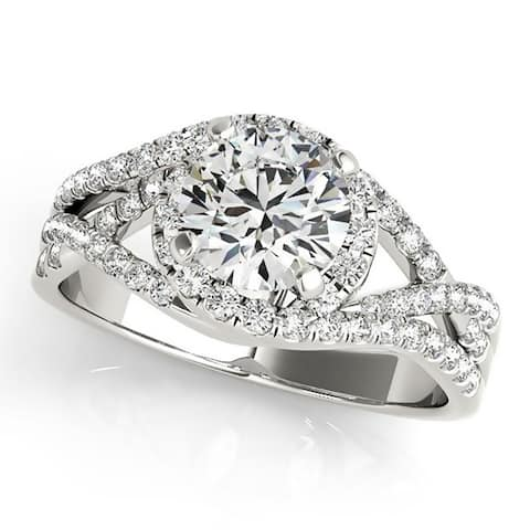 Auriya 14k Gold Modern 1ct Moissanite Halo Diamond Engagement Ring 3/8ctw