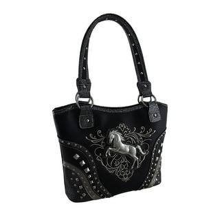 Western Horse Embroidered Studded Concealed Carry Handbag