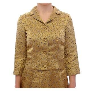 Andrea Incontri Andrea Incontri Silk Short Jacquard Floral Blazer Jacket - it40-s