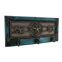 Wood Framed Rustic Western Star Triple Wall Hook 22 in.