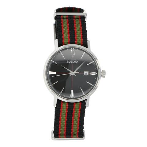 Bulova Men's 96B317 Aerojet Stainless Black Nato Strap Watch - Silvertone