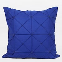 "G Home Collection Luxury Blue Textured Check Pattern Wool Pillow 20""X20"""