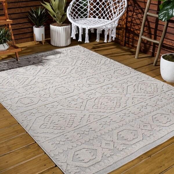 JONATHAN Y Citta High-Low Pile Mediterranean Tile Indoor/Outdoor Area Rug. Opens flyout.