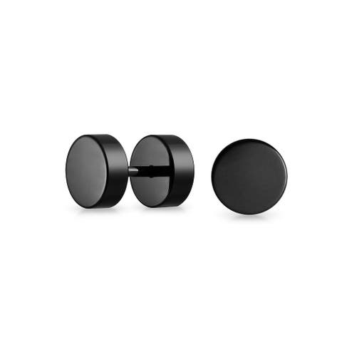 Black Bar Bell 8 MM Round Illusion Faux Ear Plug Earrings For Men For Teen Surgical Steel 16G Screwback