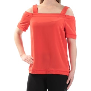 BAR III Womens Orange Cold Shoulder Short Sleeve Square Neck Top Size: 59.5