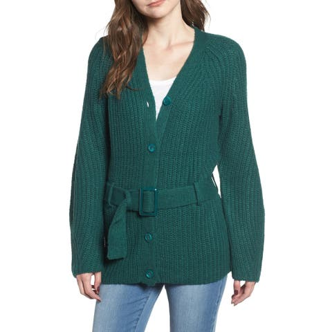 Leith Women's Belted Knit Green Size Small S Buttoned Cardigan Sweater