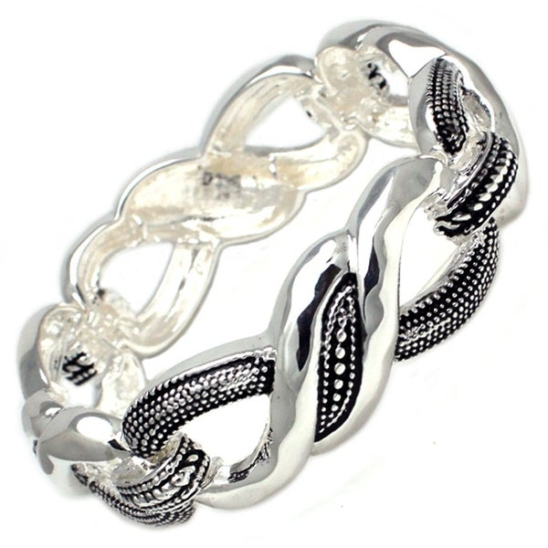 """Antique Silver Plated Double Knot Brass Bangle - Inside Circumference: 6"""""""