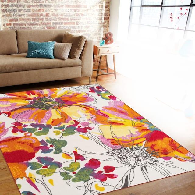 """Modern Bright Flowers Non-Slip Area Rug Multi - 7'10"""" x 10' - Multi"""