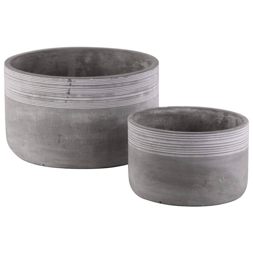 Cement Low Round Pot With Ribbed Band Rim Top, Set of 2, Gray