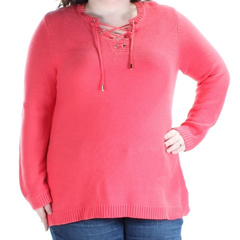 CHARTER CLUB Womens Coral Tie Long Sleeve V Neck Sweater Size: XXL