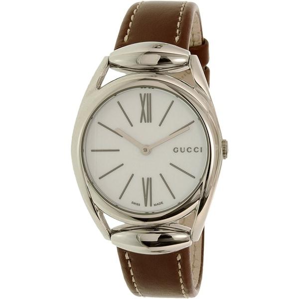 Gucci Women's Horsebit YA140502 Brown Leather Swiss Quartz Fashion Watch