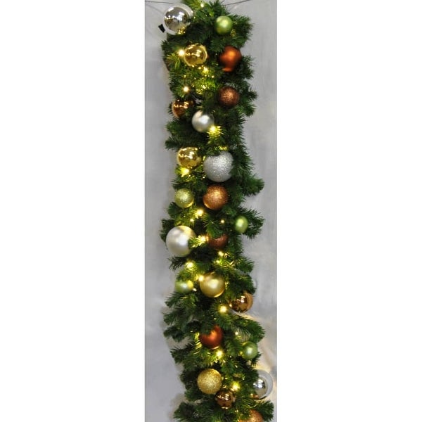 Christmas at Winterland WL-GARSQ-09-WOOD-LWW 9 Foot Pre-Lit Warm White LED Sequoia Garland Decorated with Woodland Ornaments