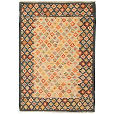ECARPETGALLERY Flat-weave Bold and Colorful Navy, Khaki Wool Kilim - 4'1 x 6'0