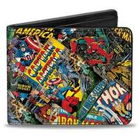 Marvel Comics Retro Marvel Comic Books Stacked Bi Fold Wallet - One Size Fits most