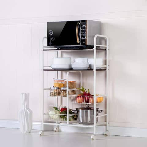 Rolling Kitchen Trolley Cart Island Wire Rack Basket Shelf Stand Storage