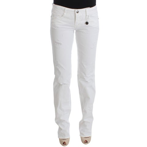 Costume National Costume National White Cotton Slim Fit Denim Bootcut Jeans