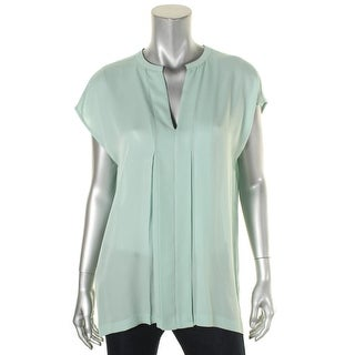 Vince Womens Blouse Silk Pleated