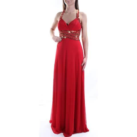 83cb4a480f55 BLONDIE Womens Red Sequined Sleeveless V Neck Full-Length Empire Waist  Formal Dress Juniors Size