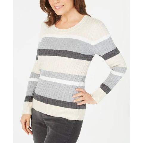 Karen Scott Women's Petite Cotton Striped Cable-Knit Sweater Brown Size Petite
