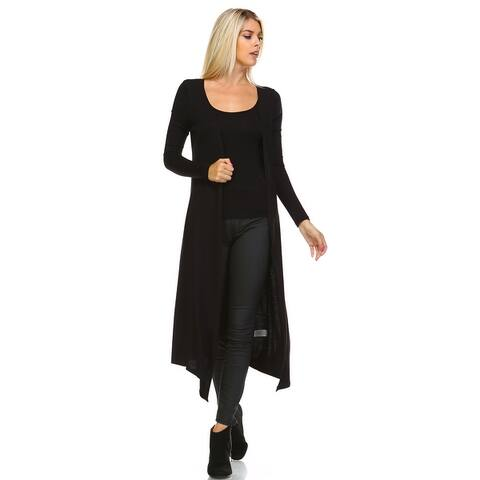 Isaac Liev Extra Long Soft & Lightweight Open Front Flyaway Cardigan Duster
